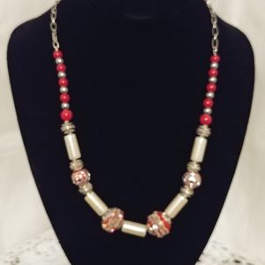 Metal/Glass Beaded Necklace
